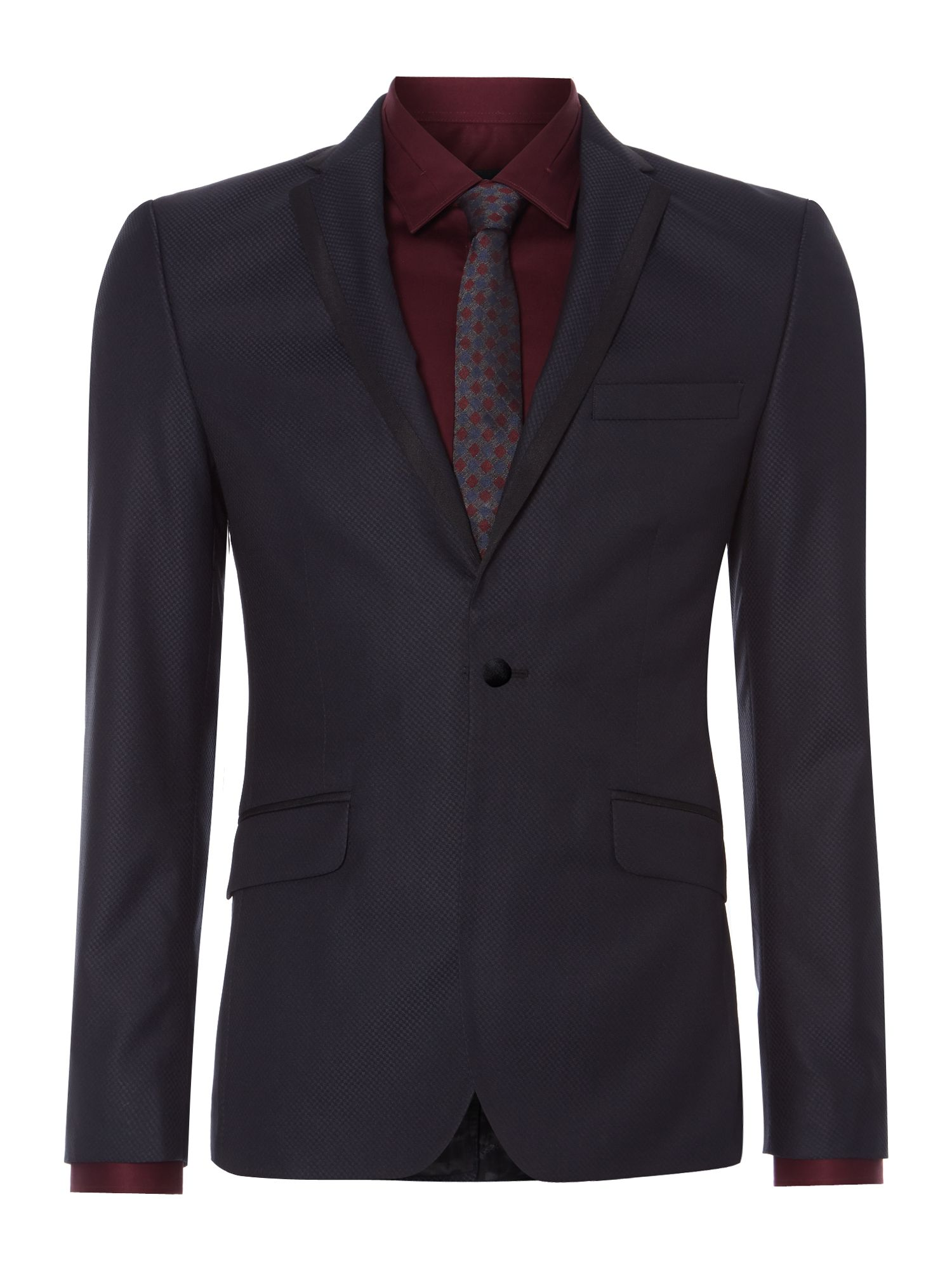 Fulton Jacquard Slim Fit Satin Trim Jacket