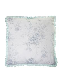 Blue rose quilted sham