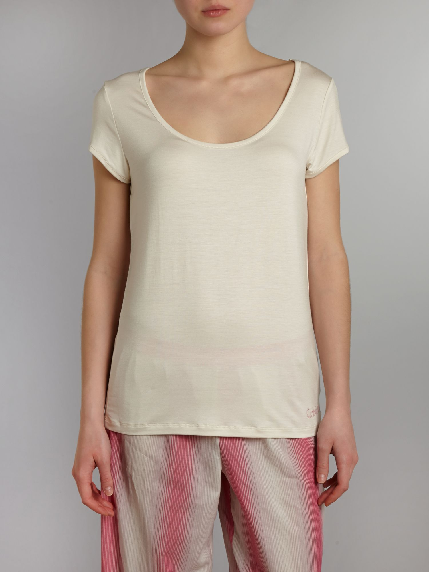 Modal coordinating tee scoop neck cap sleeve top