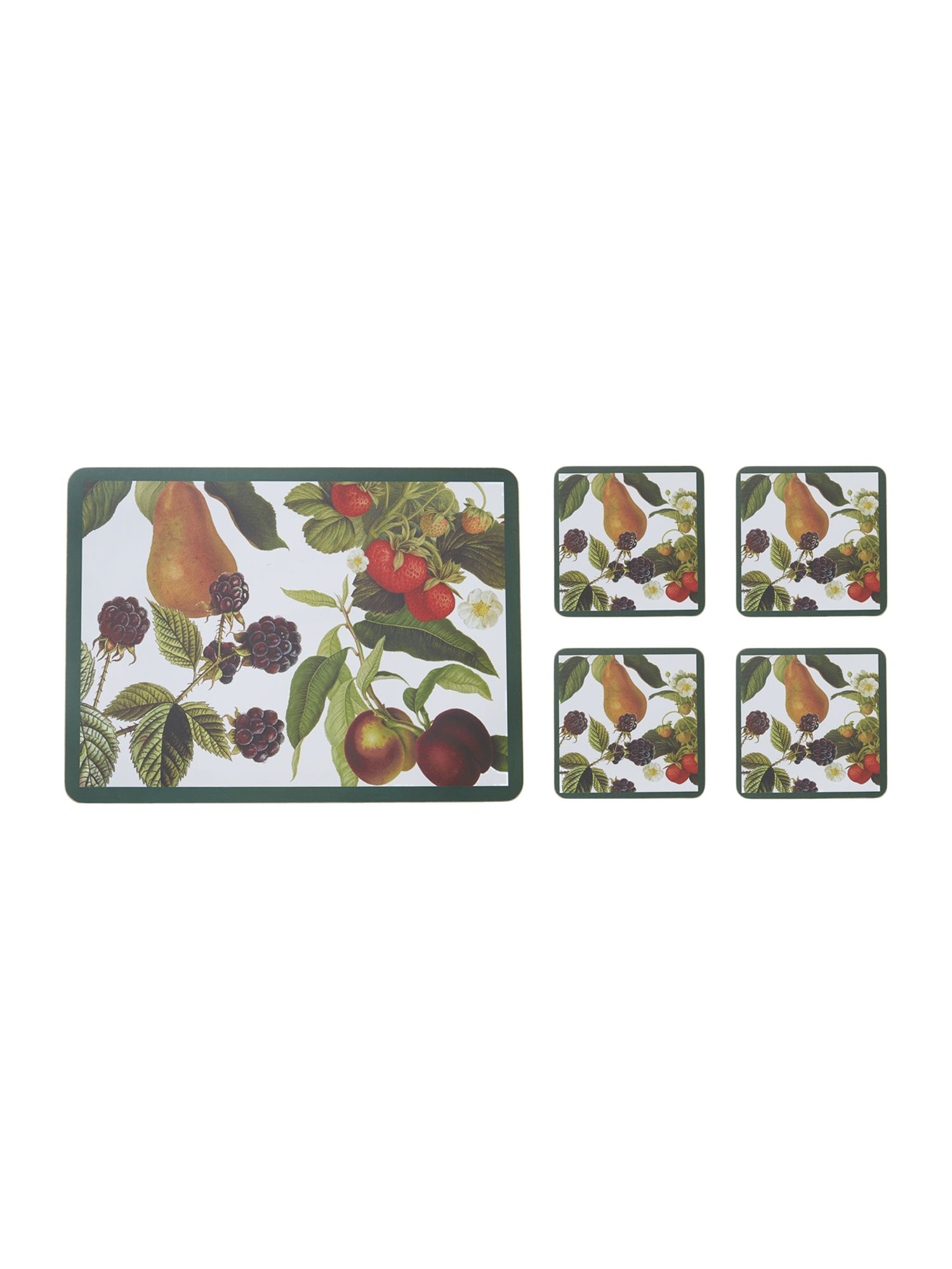 Botanical fruits placemat and coaster set