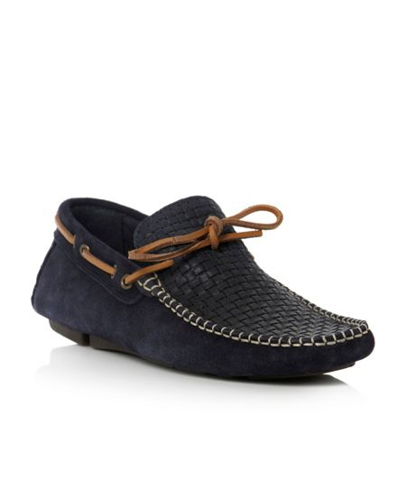 Bertie Benzel woven embossed tie driver shoes