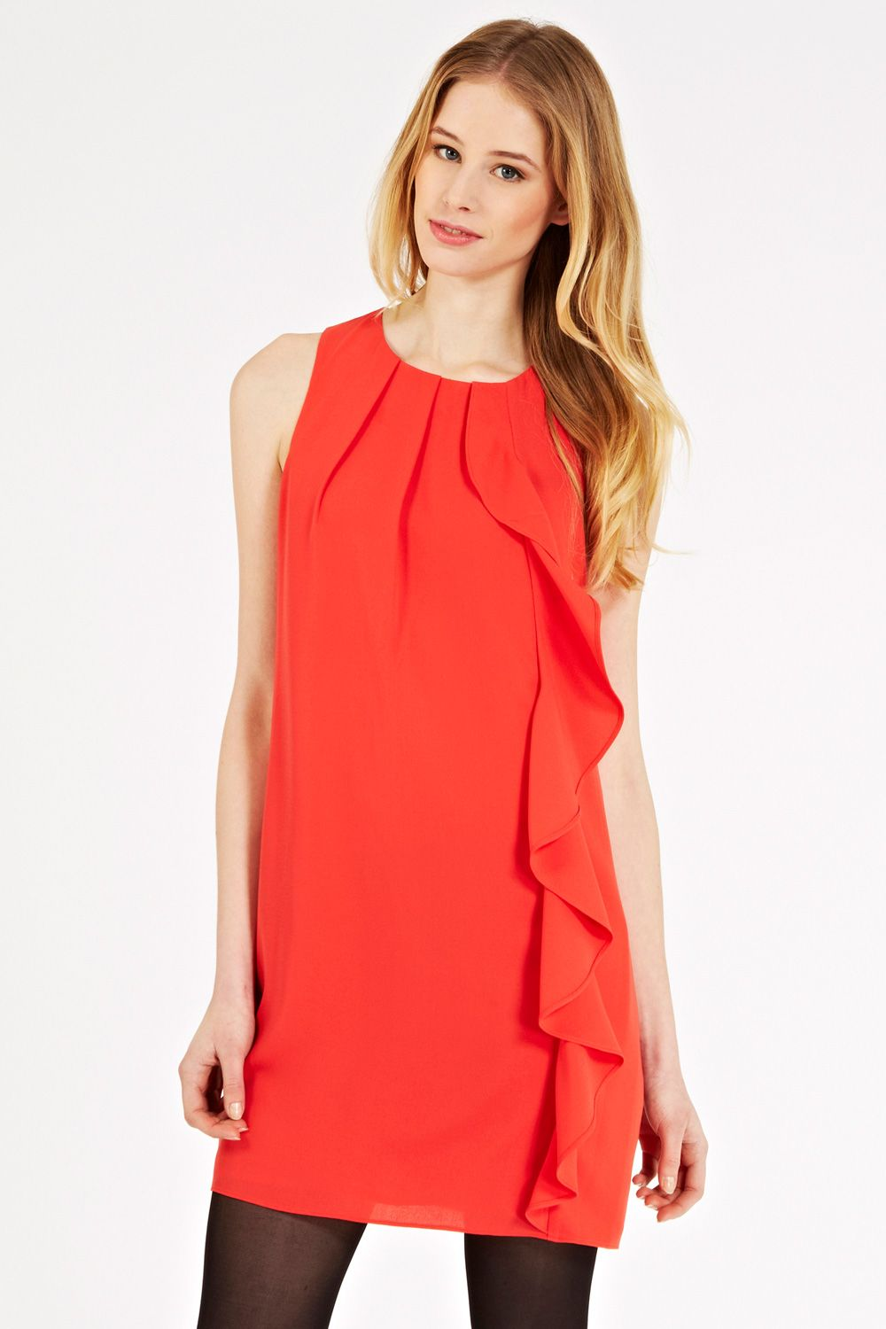 Frill crepe shift dress