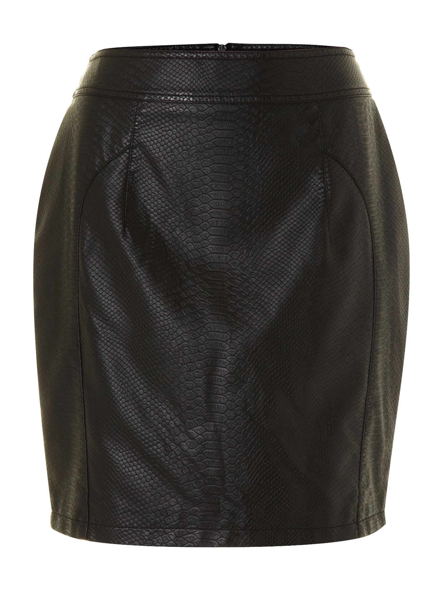 Embossed leather look skirt