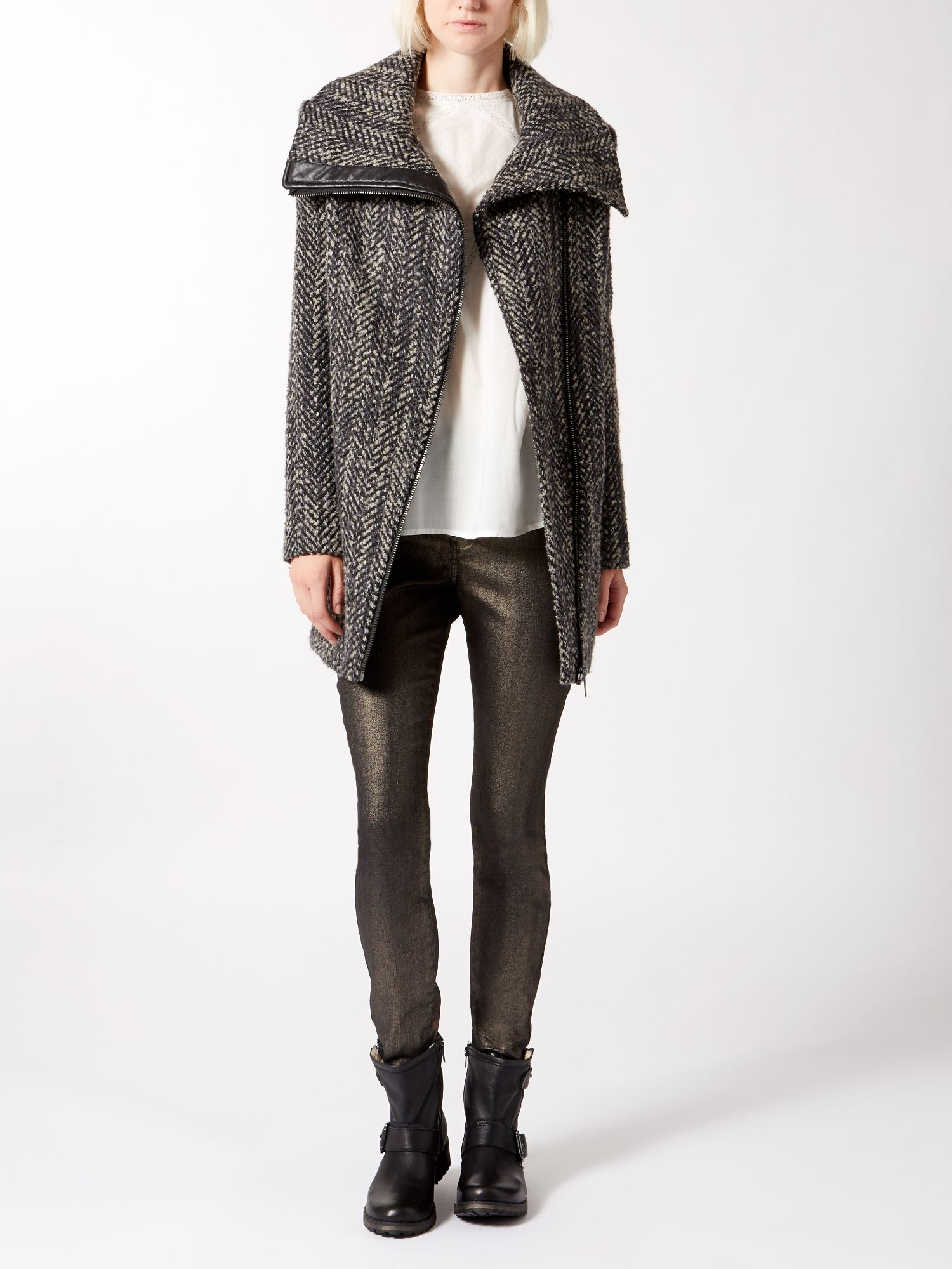 Textured long biker style coat
