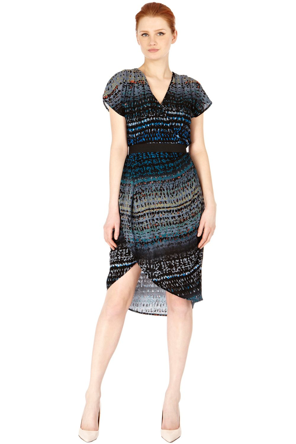 Ombre print drape dress