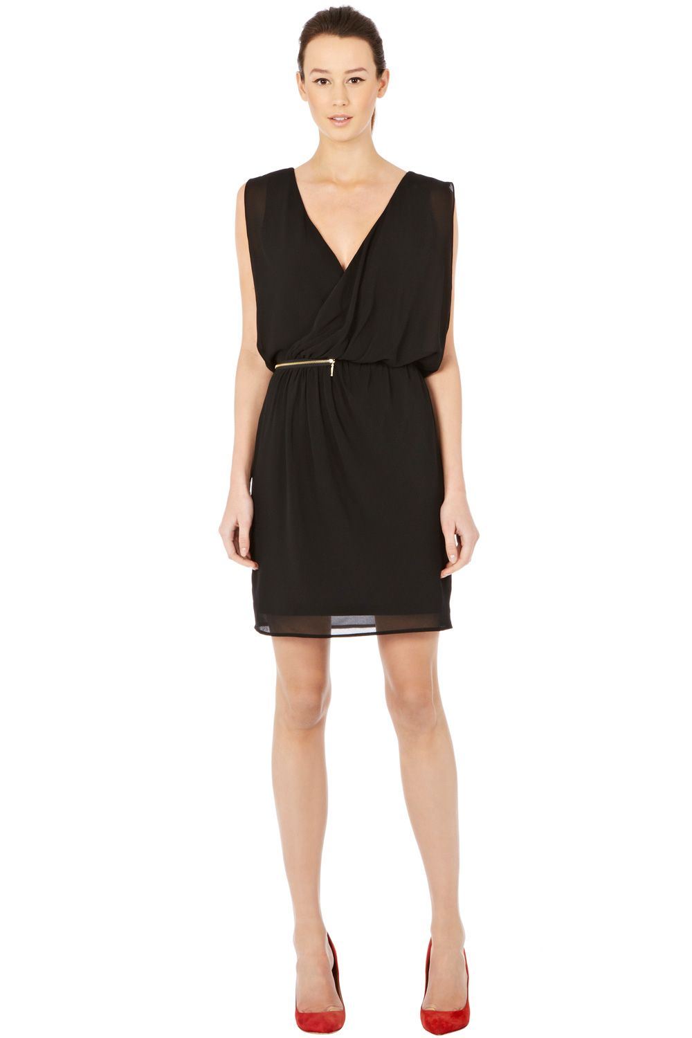 Zip detail wrap dress