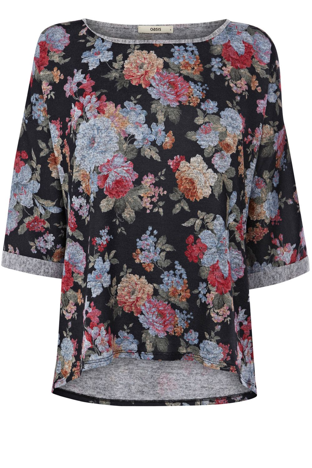 Floral print sweat top