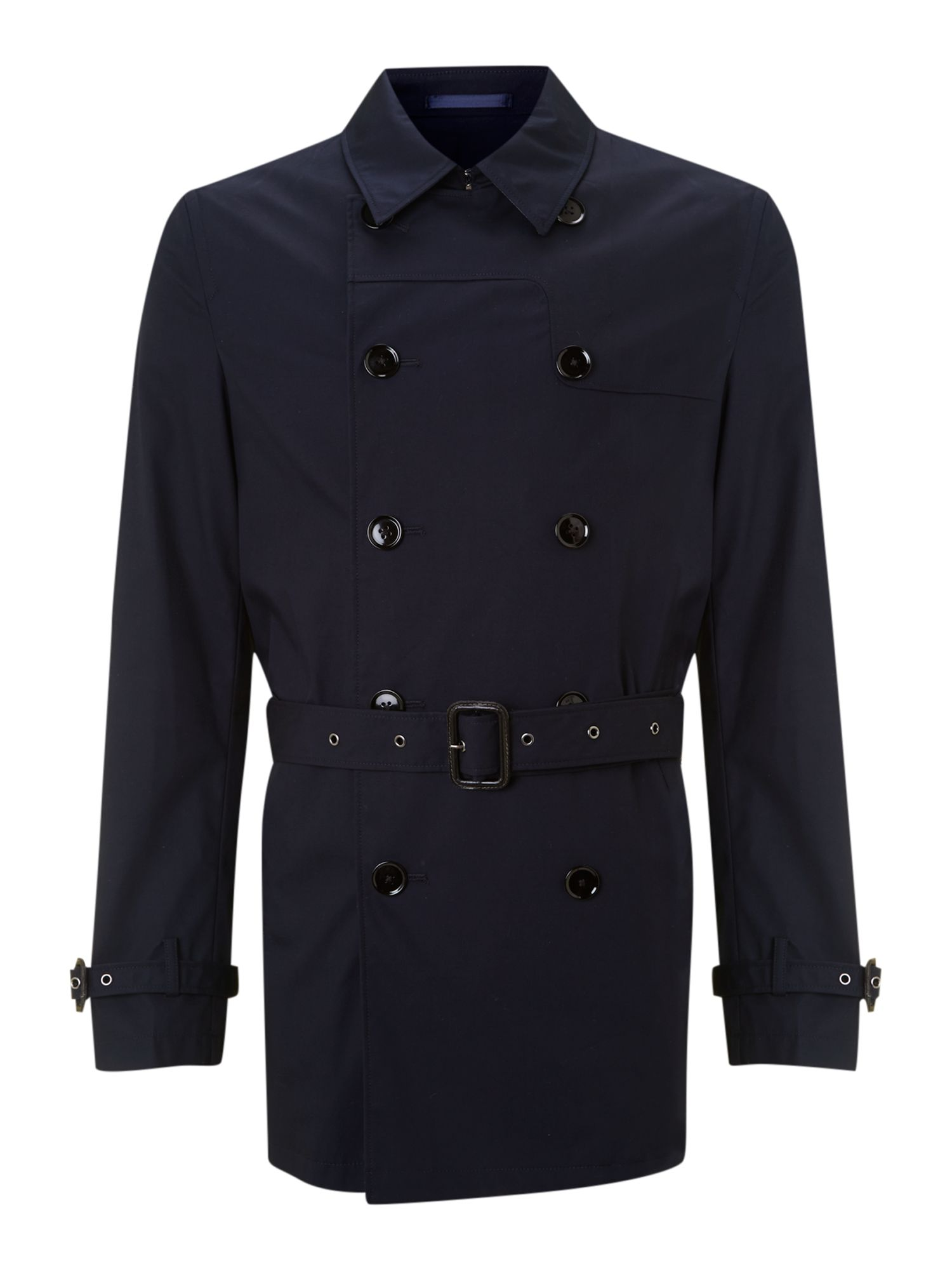 Harper Double Breasted Raincoat with Trim Detail