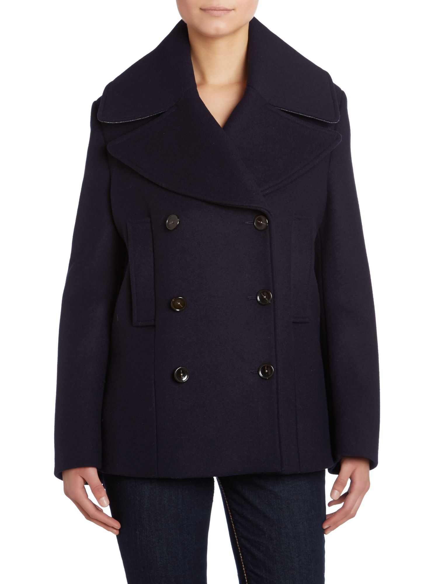 Edge double breasted wool coat