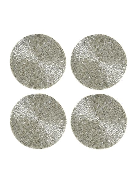 Linea Silver bugle bead coaster set of 4