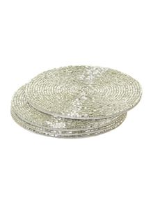 Silver bugle bead coaster set of 4