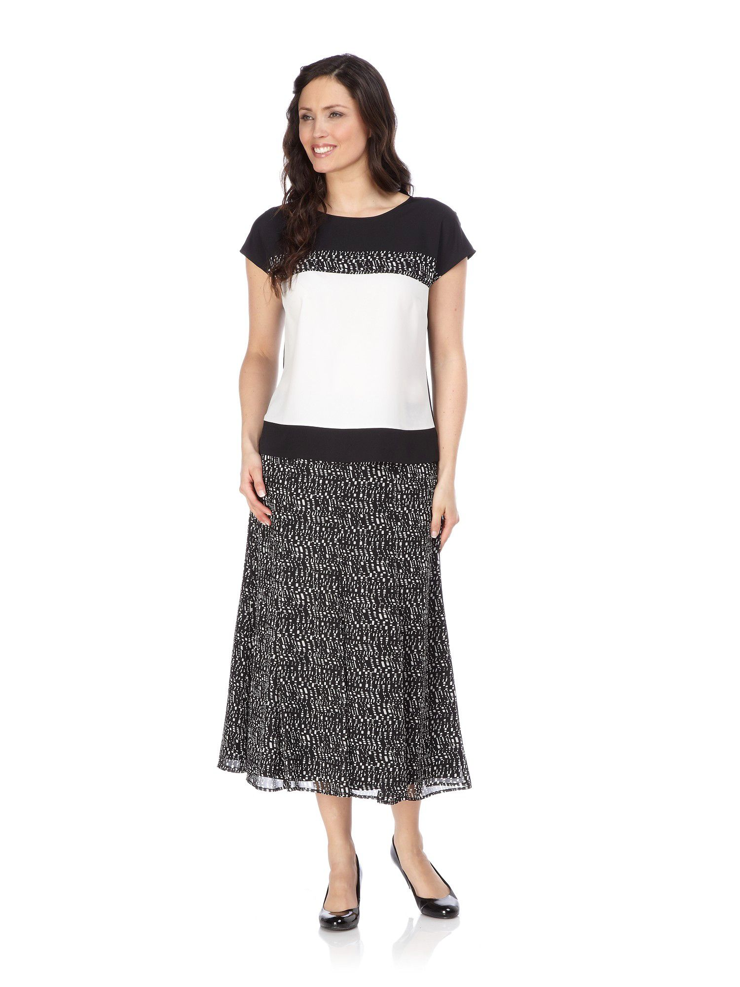Pixel print panelled skirt