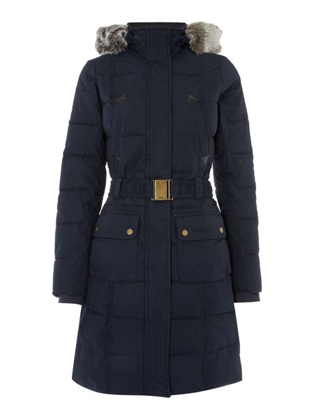 Barbour Belton Quilt Waisted Fur Trim Hood