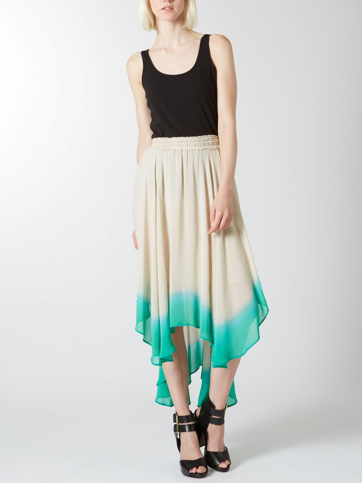 Dip dye graduated hem skirt