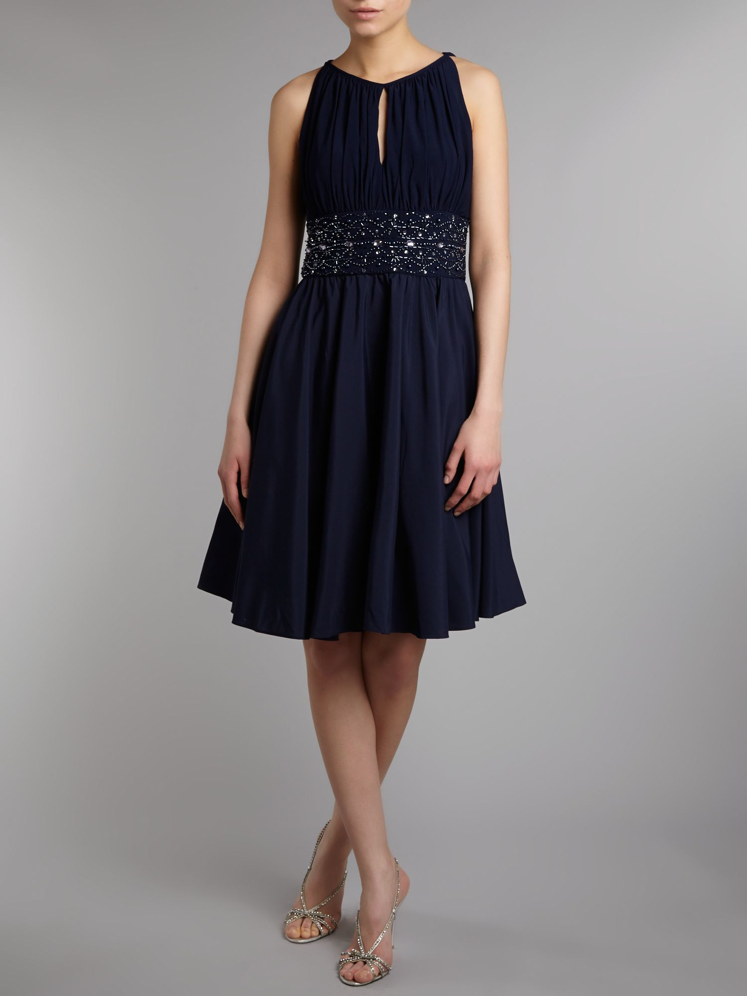 Keyhole beaded waist dress