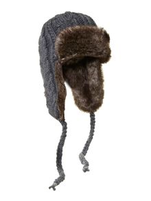 Cable knit trapper hat