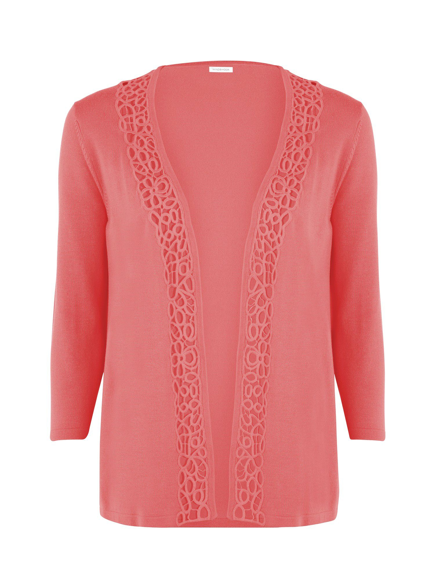 Coral lace trim cardigan