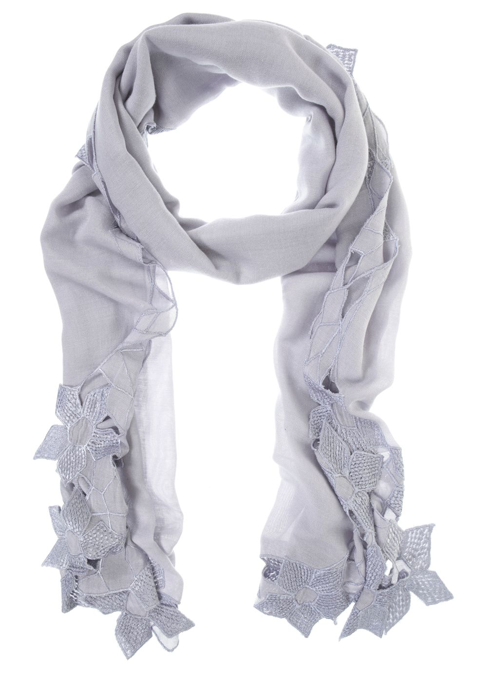 Sky blue cutwork scarf