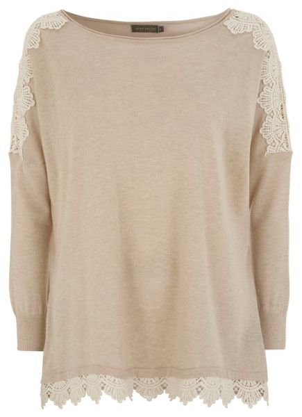Mint Velvet Neutral lace hem knit