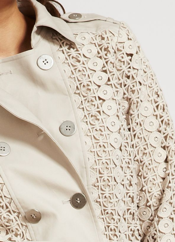 Neutral mosaic lace trench coat
