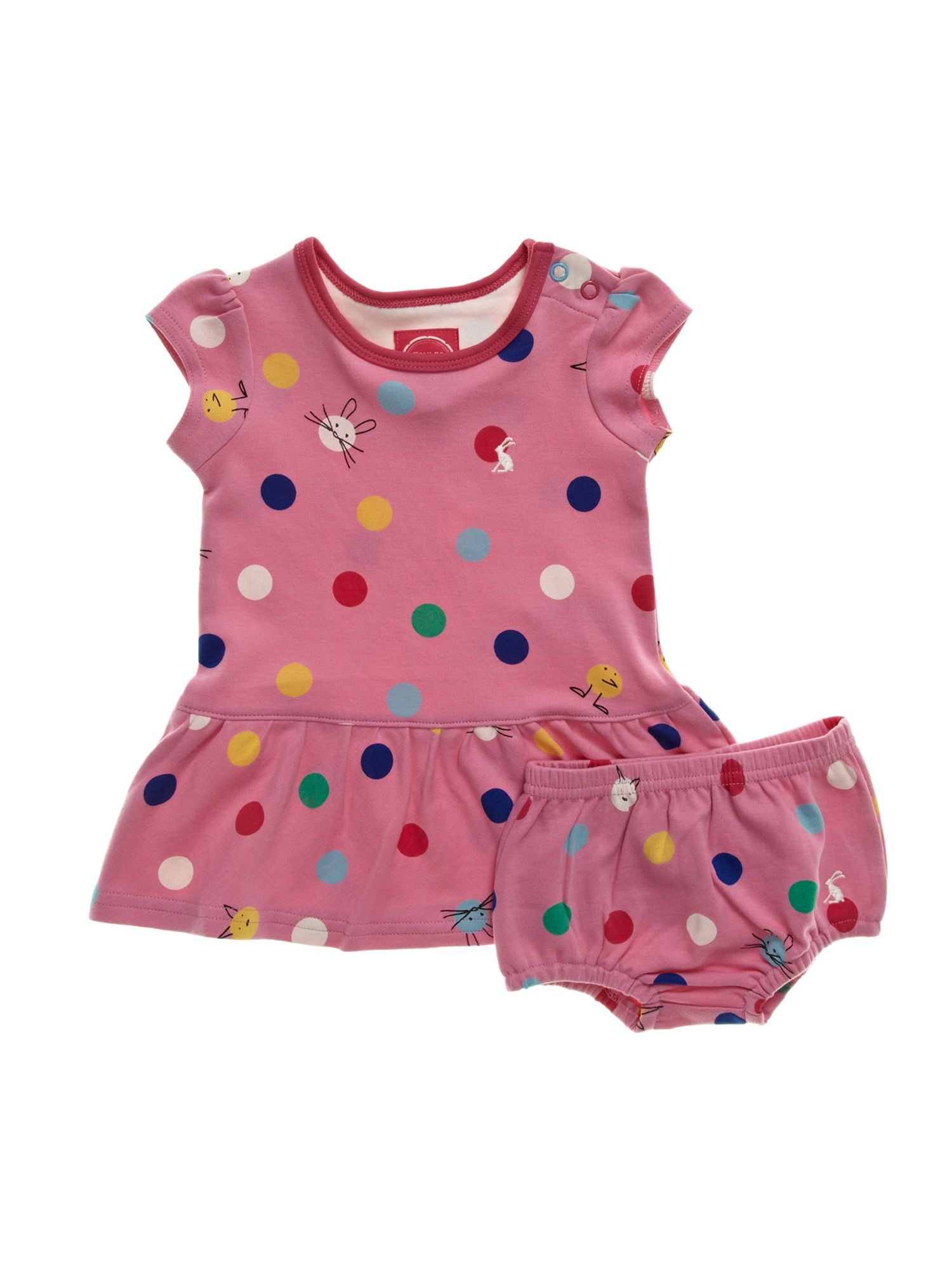 Baby girl`s spot print dress & pants set