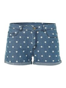 Low waist polka dot denim short
