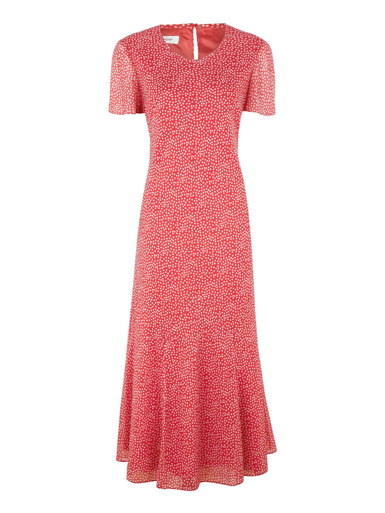 Coral chiffon spot dress