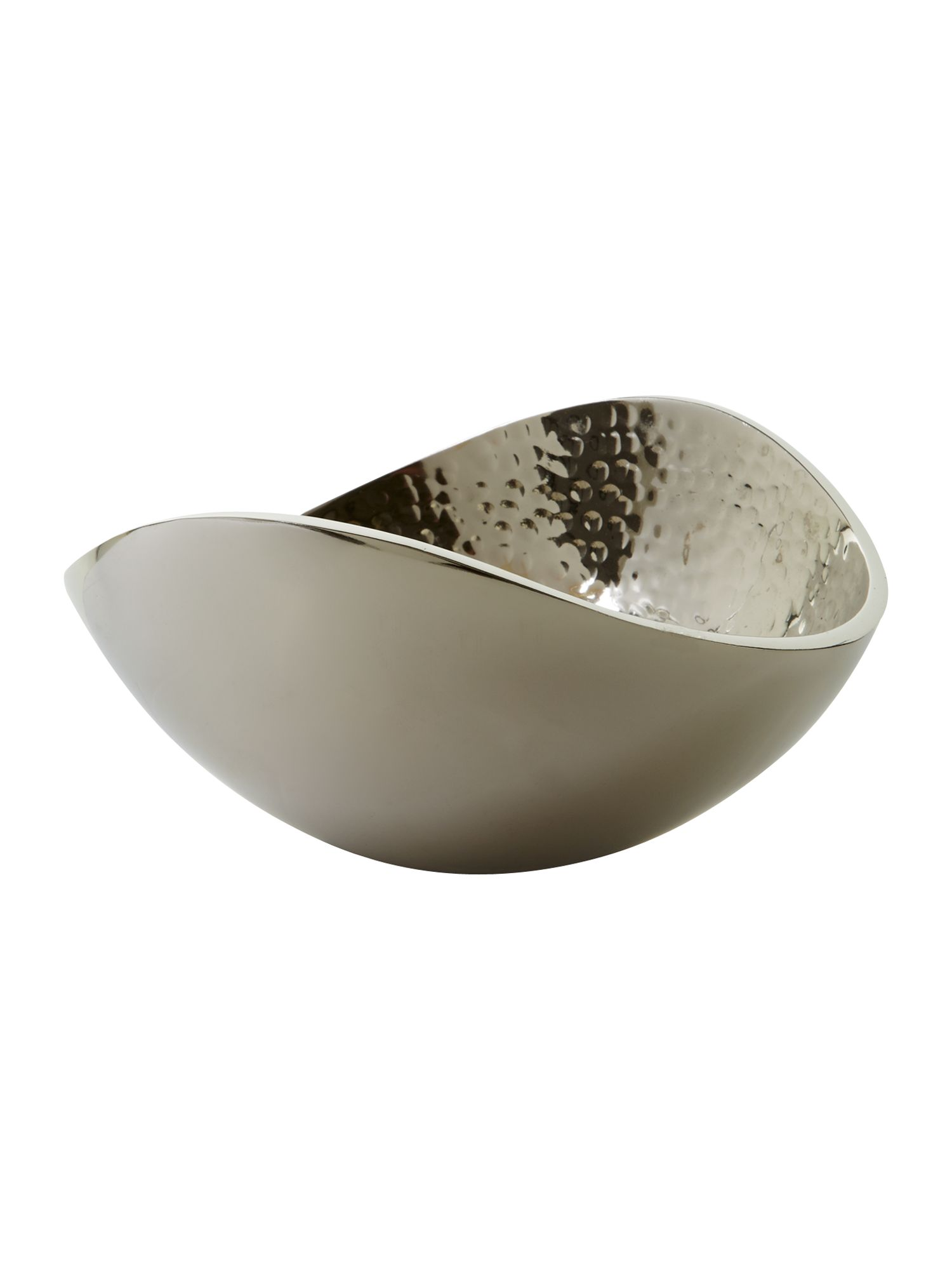 Small beaten metal oval bowl