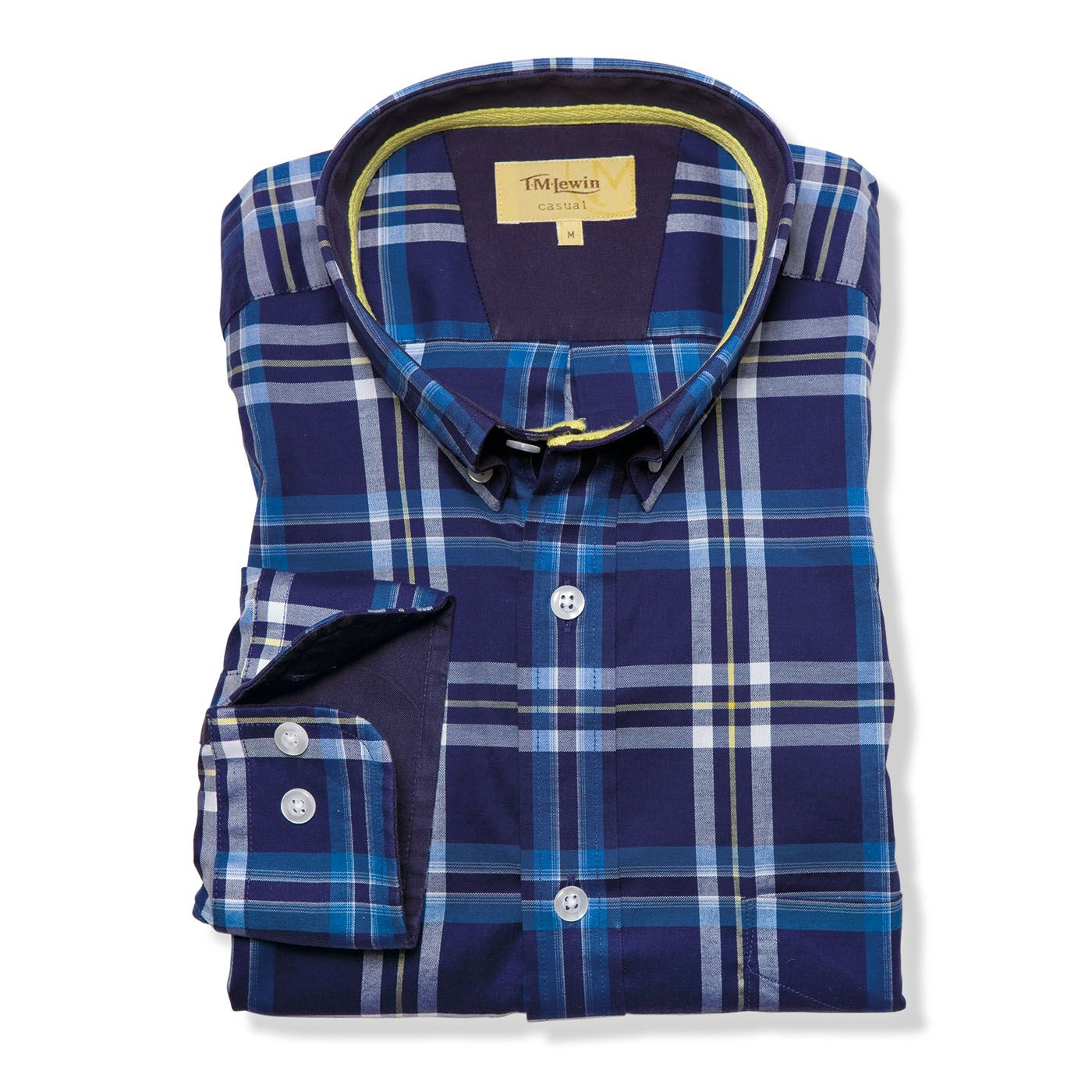 Navy yellow check casual shirt