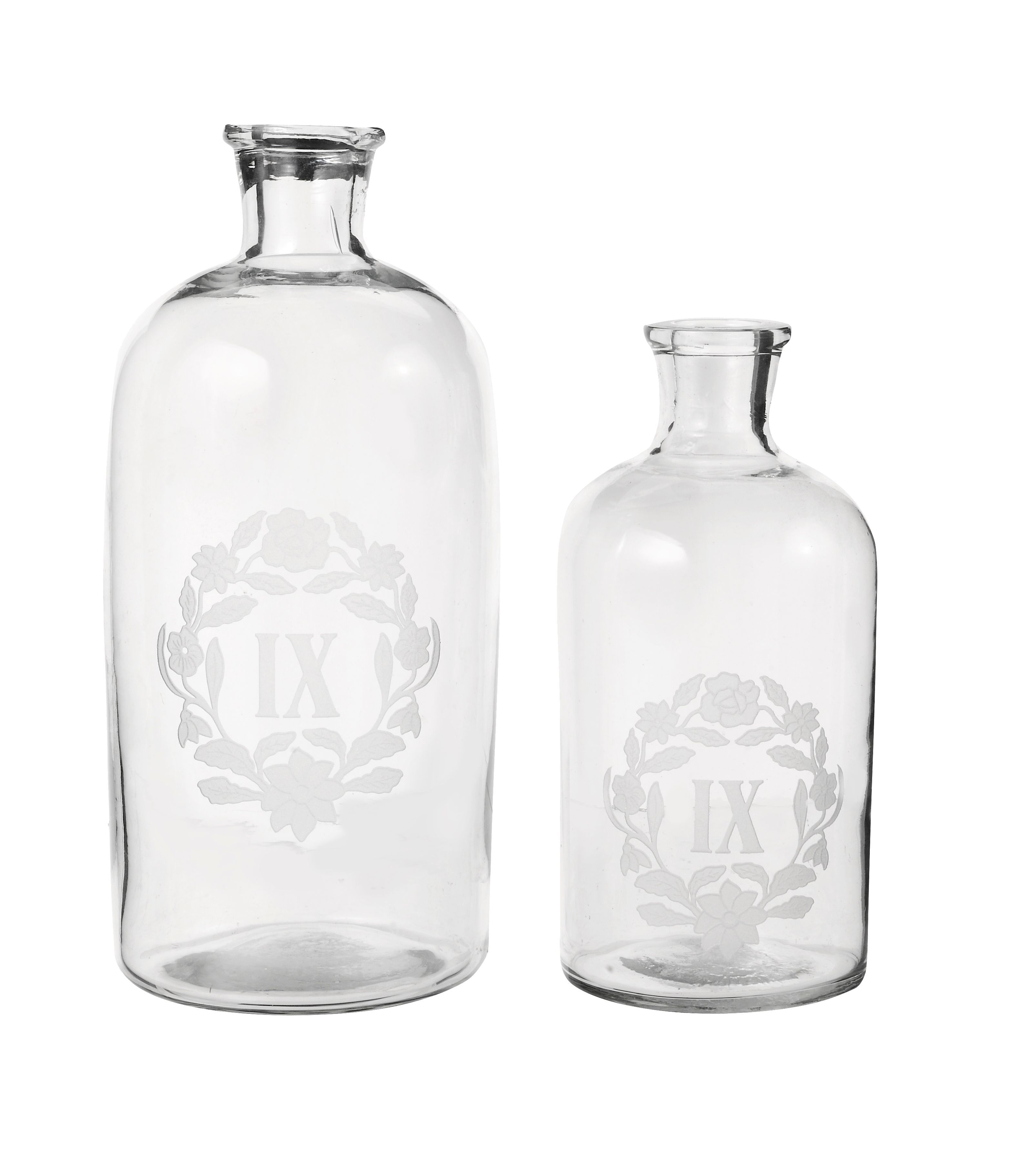 Small decorative glass bottle