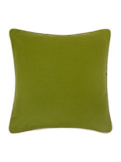 Green cotton cushion with contrast piping
