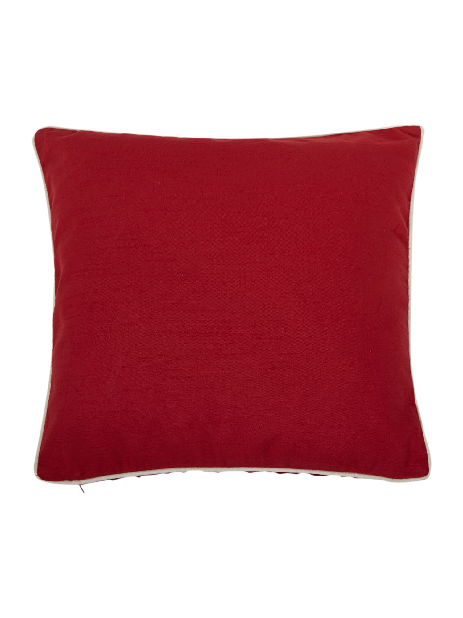 Red cotton cushion with contrast piping