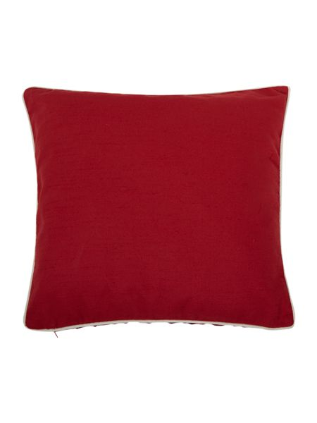 Linea Red cotton cushion with contrast piping