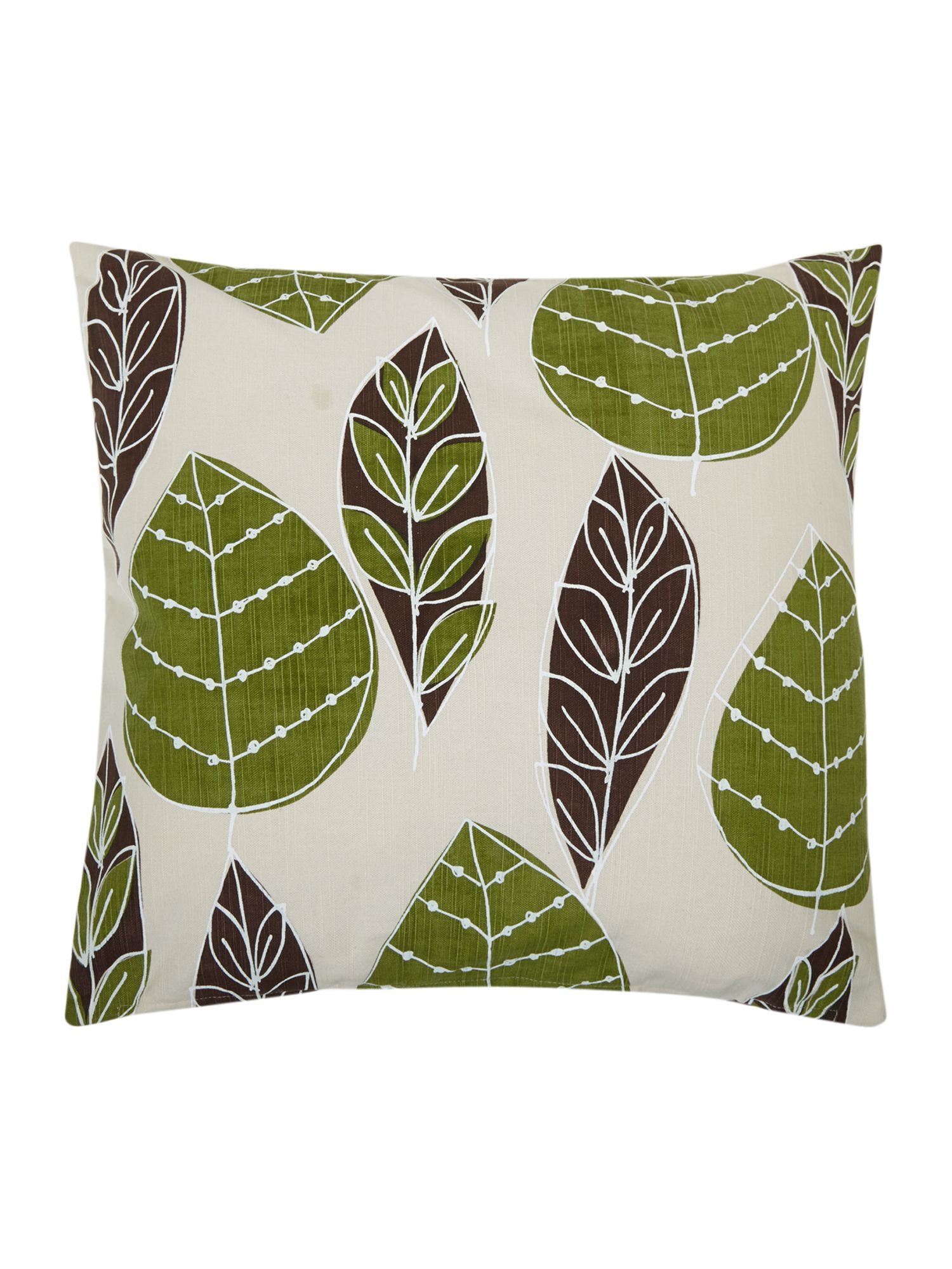 Green and brown leaf print cushion
