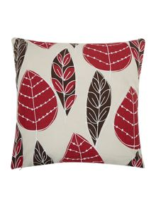 Red and brown leaf print cushion