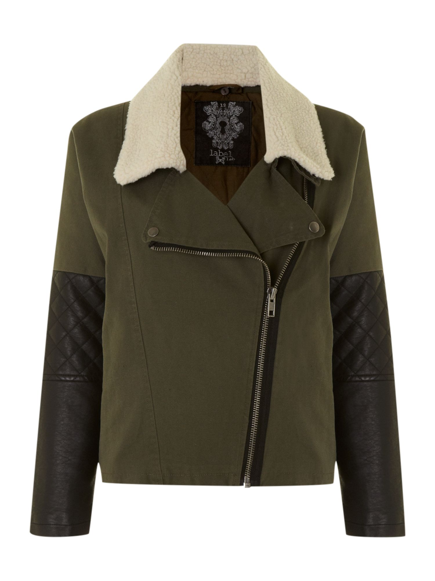 Shearling collar biker style jacket