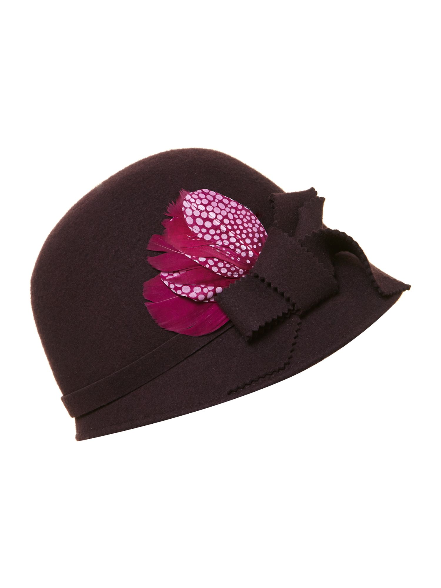 Feather detail cloche