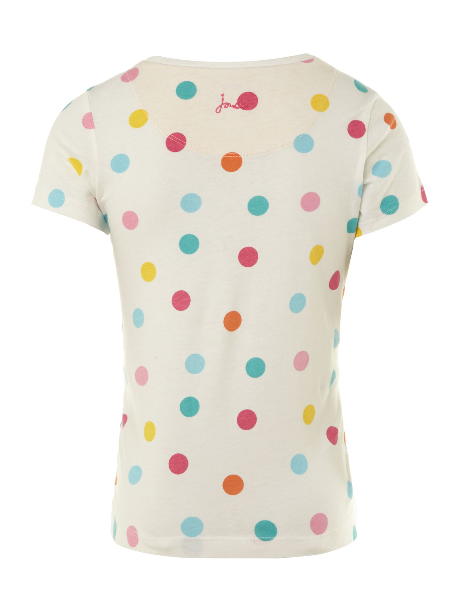 Girl`s dog applique spotty T-shirt