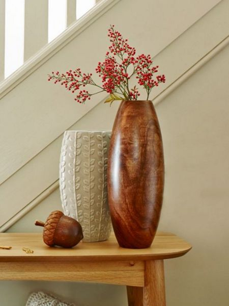Linea Natuals carved wooden vase