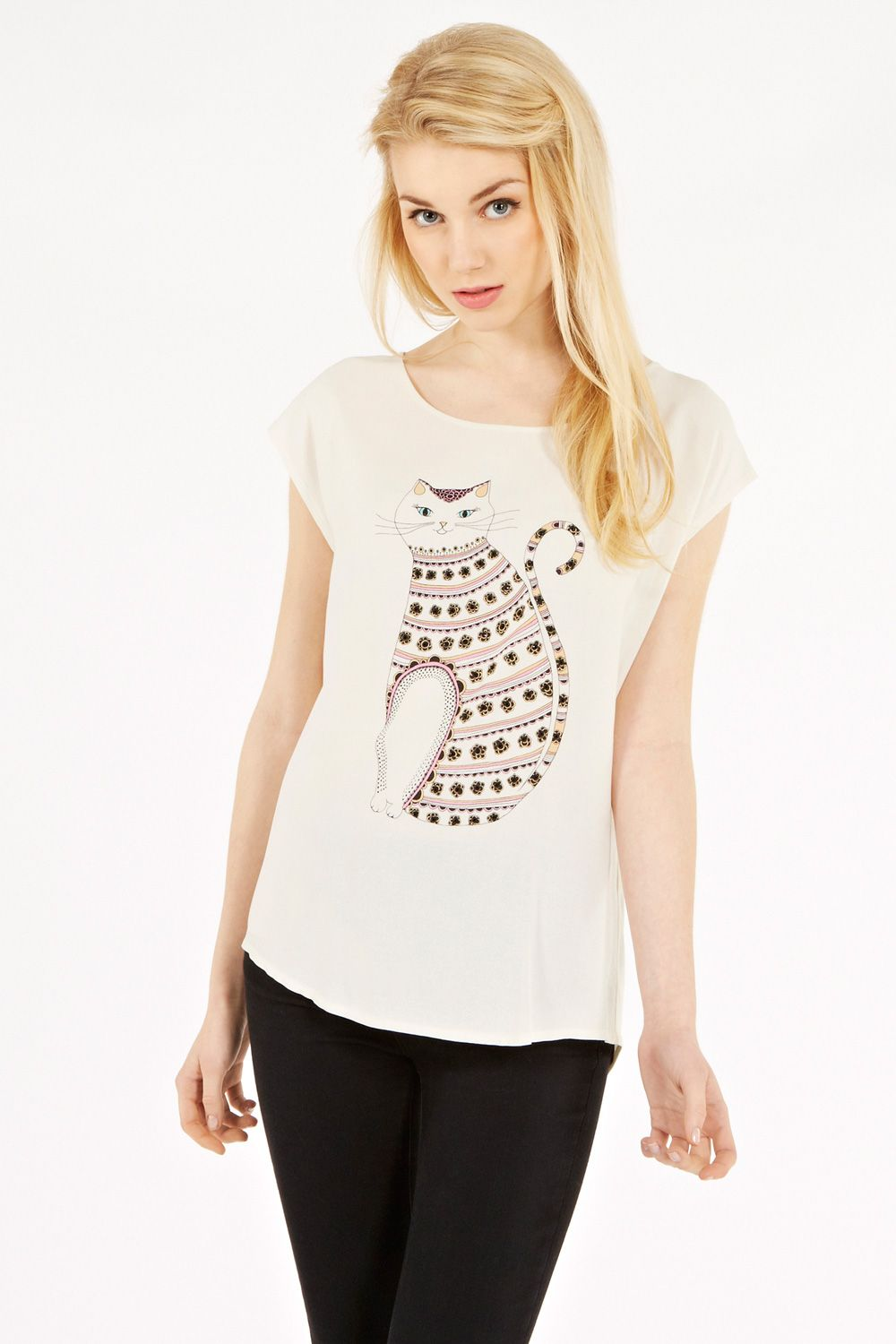 Twinkle stripe cat tee