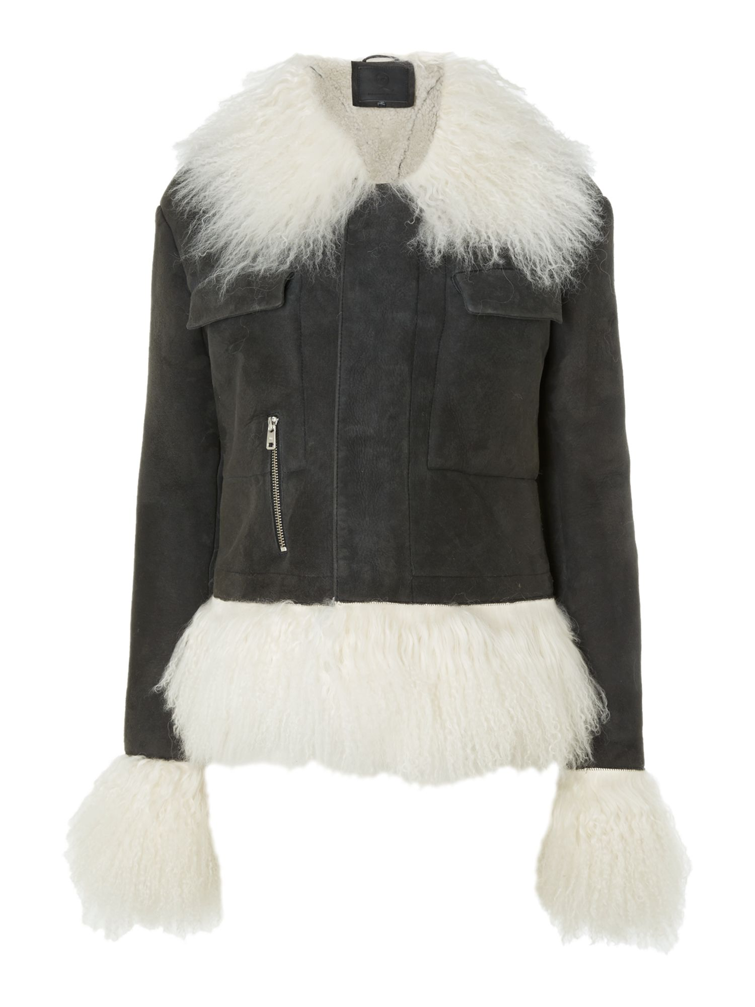 McQueen Sheepskin mongolian trim jacket, Black