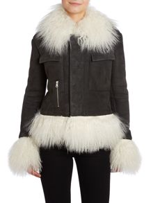 Sheepskin mongolian trim jacket
