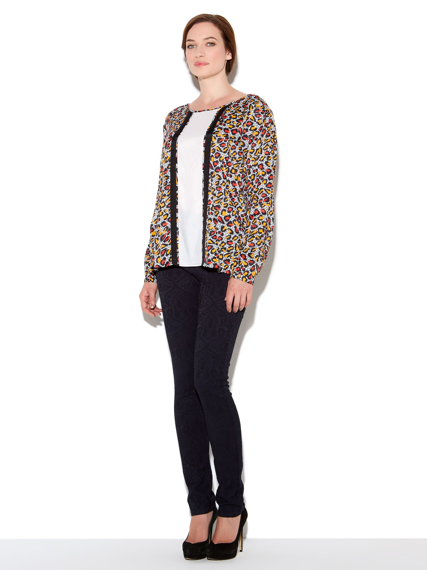 Panelled animal print shirt