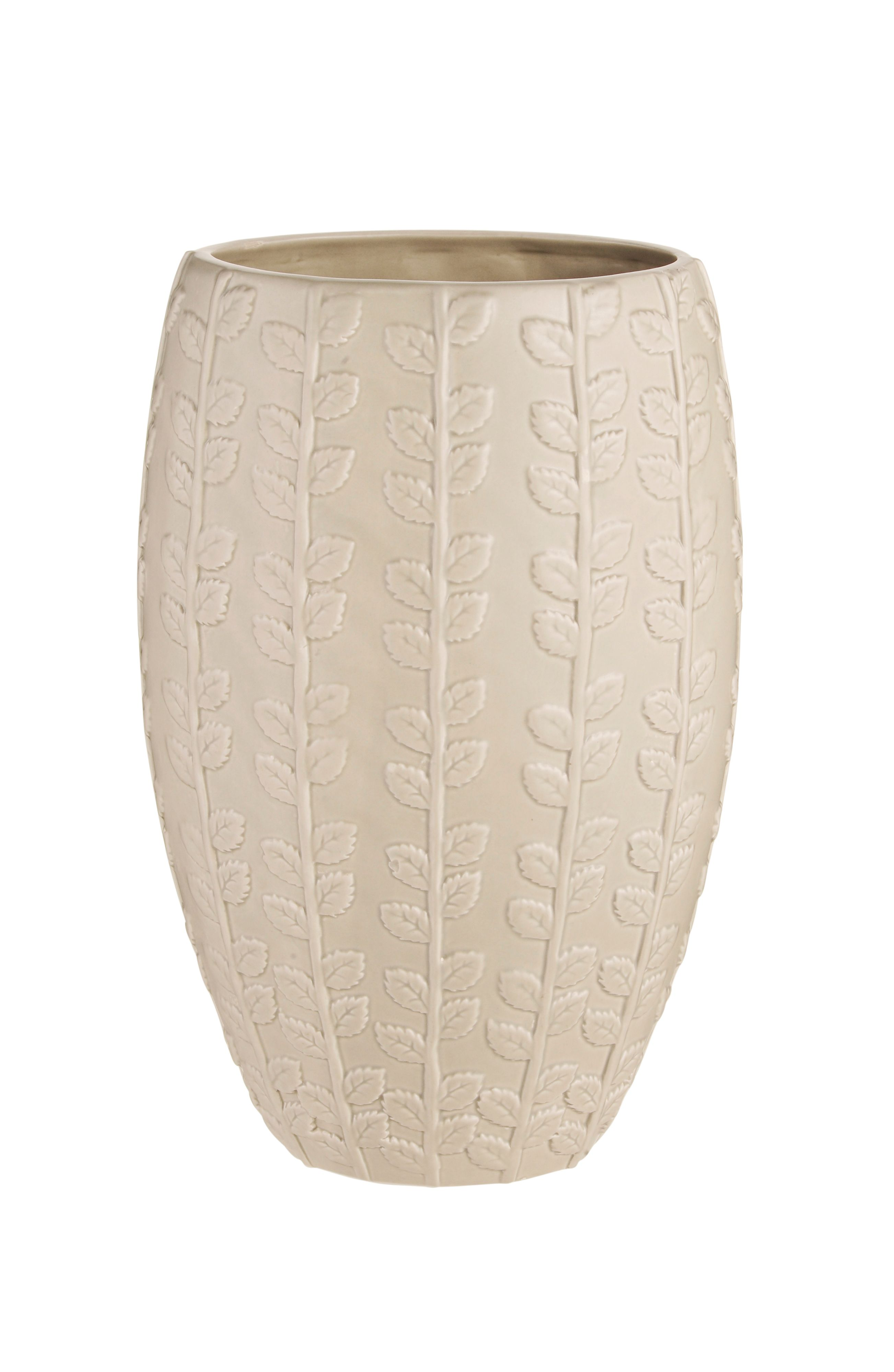 Cream embossed leaf design vase