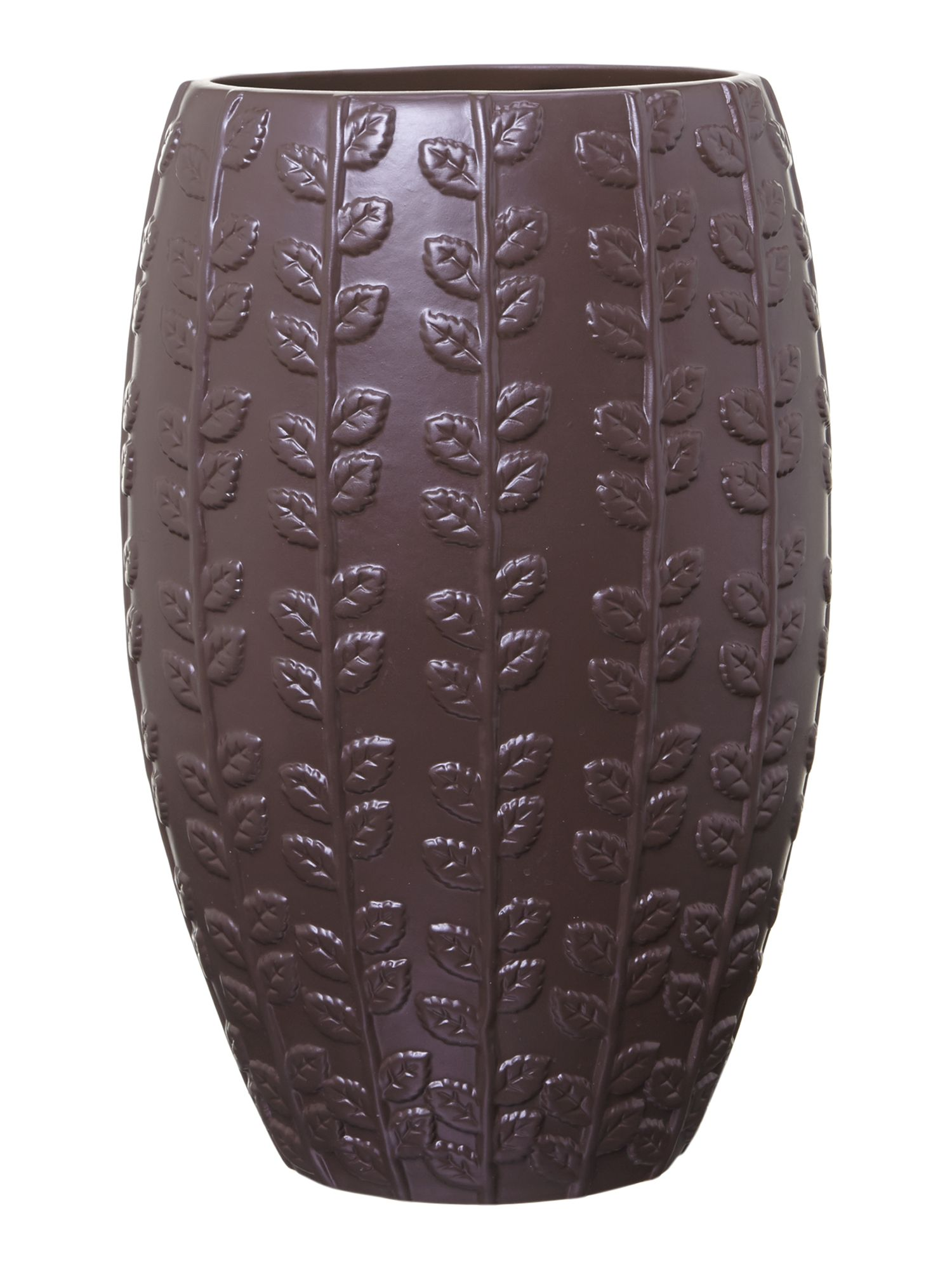 Brown embossed leaf design vase