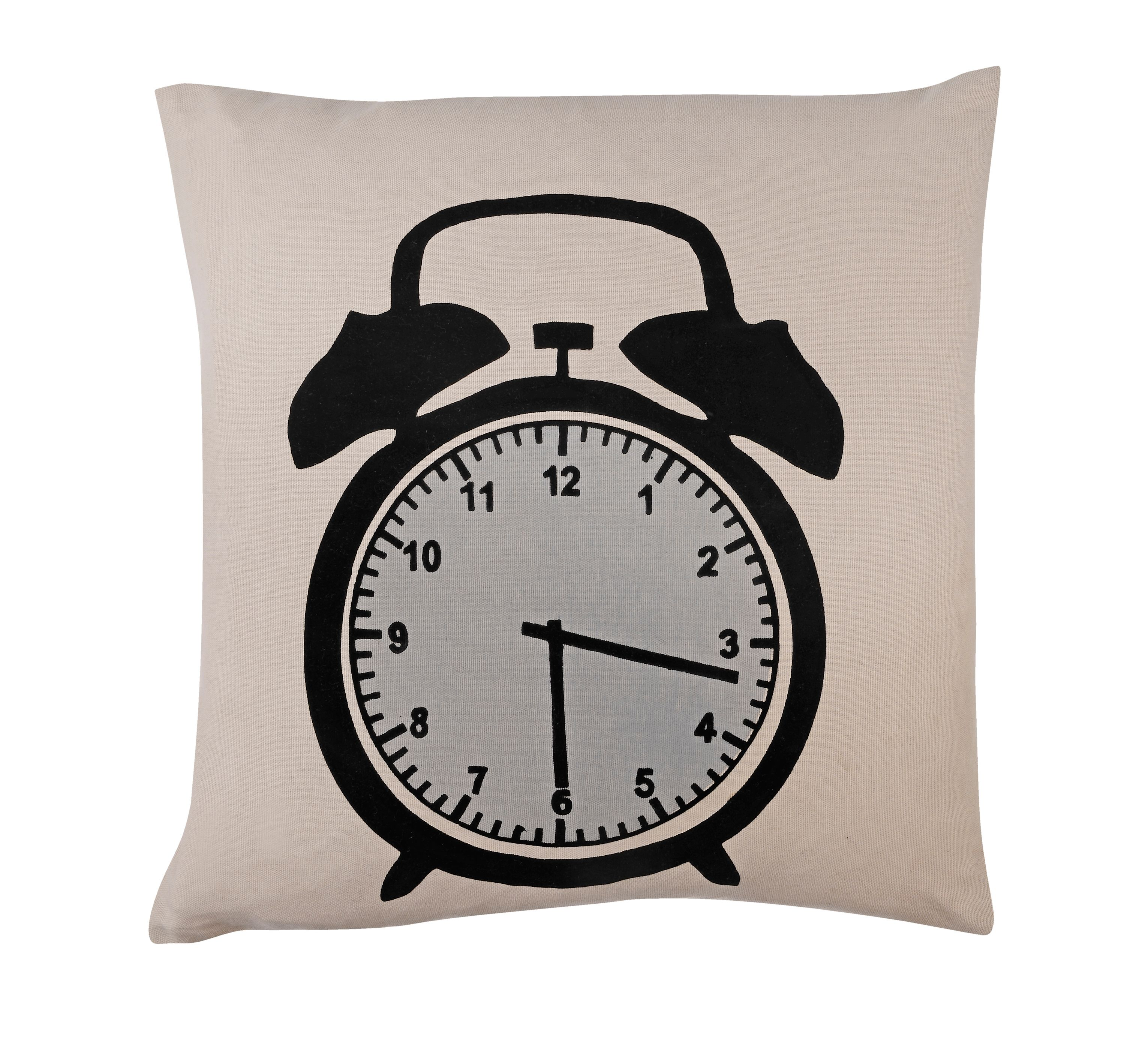 Monochrome clock design flocked cushion