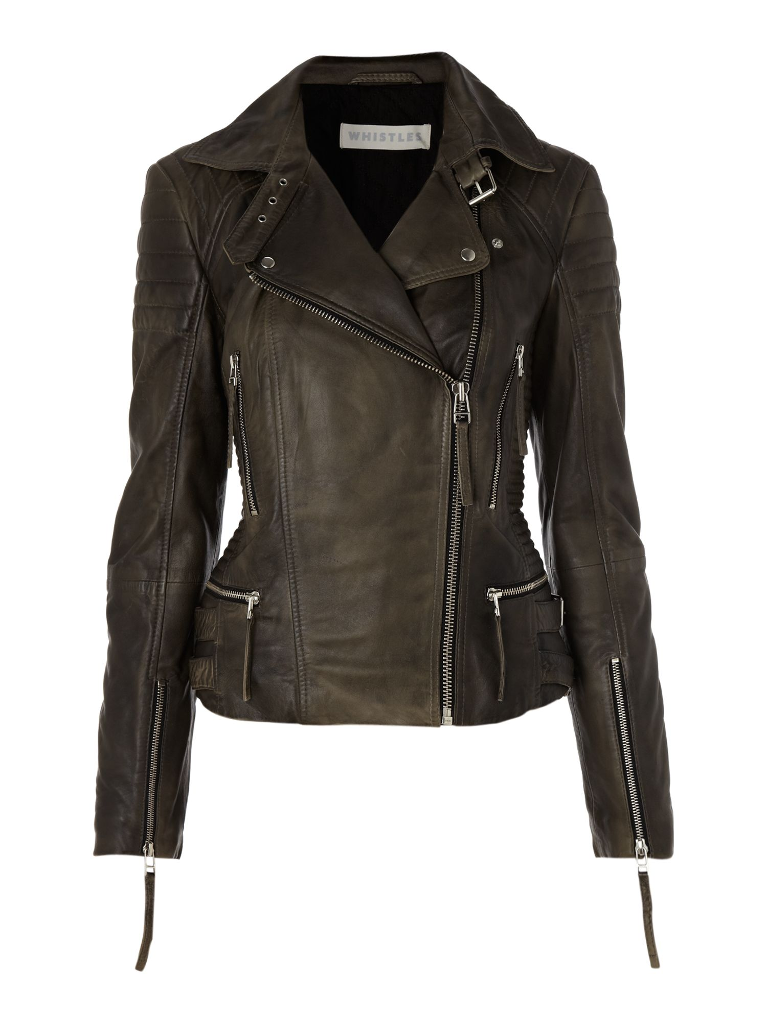 Marlon stitch detail biker jacket