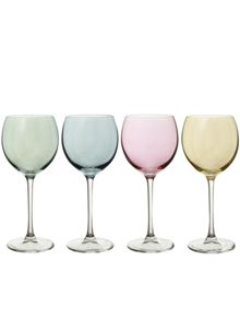 Polka Wine Glass 400ml Pastel Assorted  x 4
