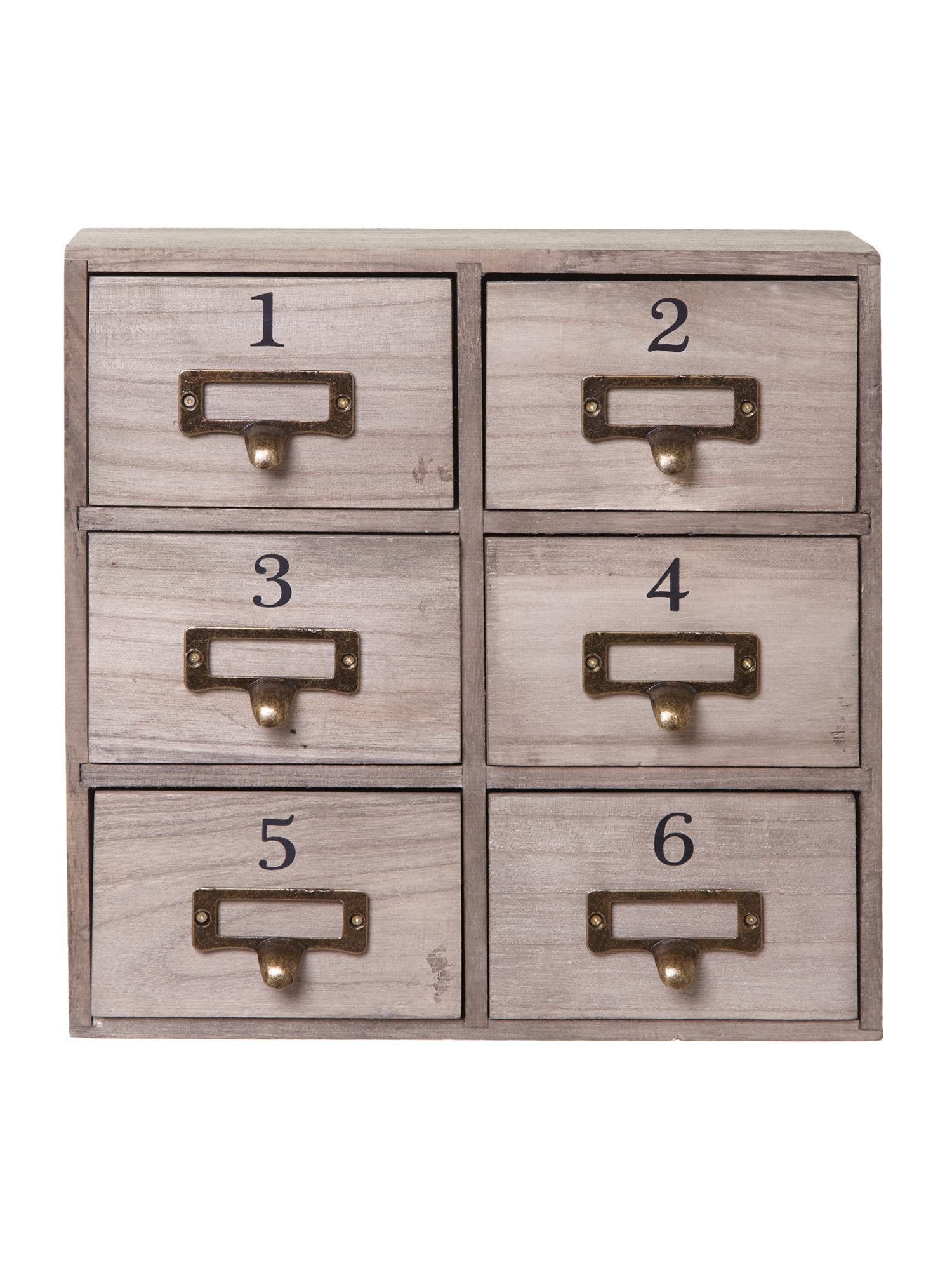 Wooden 6 drawer storage box