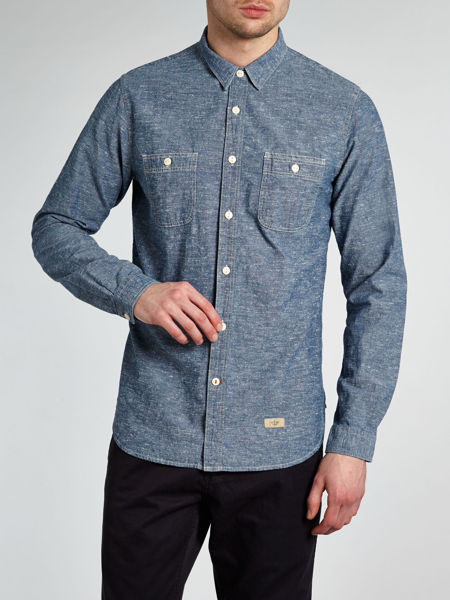 Long sleeved chambray shirt